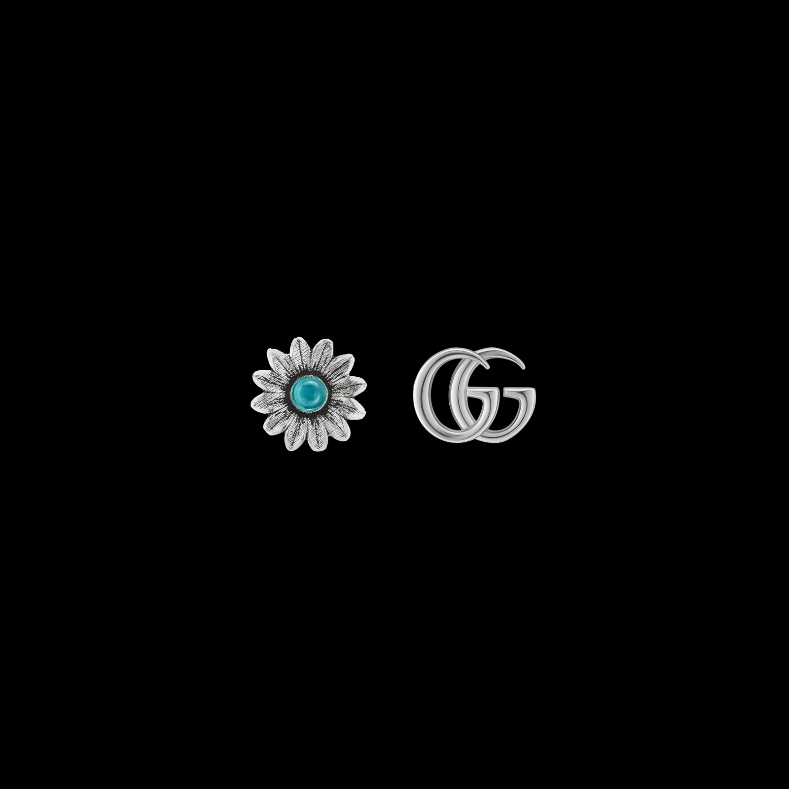 Orecchini GG Marmont in argento con fiore e logo GG ... 59106cc0e7b9