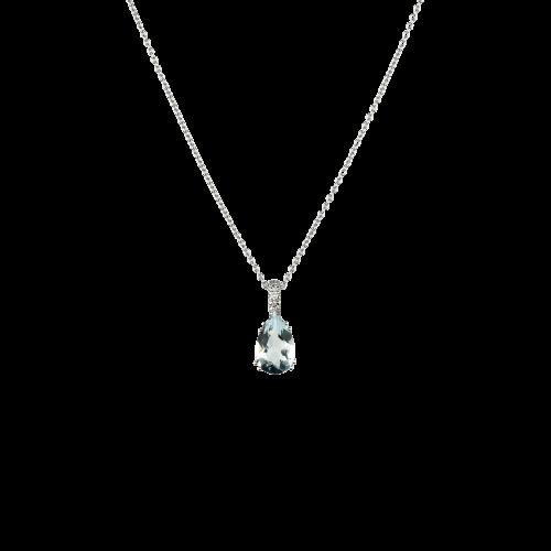 Collana in oro bianco con pendente acquamarina goccia e diamanti