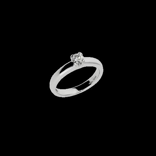 Anello solitario in oro bianco 18 carati e diamante bianco taglio brillante