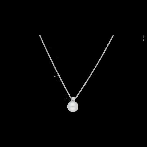 Collana in oro bianco pendente perla e diamante