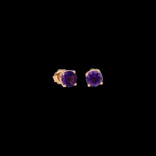 Orecchini in oro rosa 9 carati e ametista taglio brillante