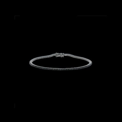 Bracciale tennis in oro brunito 18 carati e diamanti neri taglio brillante