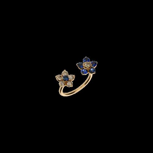 Anello Fiore in oro rosa, diamanti brown e zaffiri blu naturali