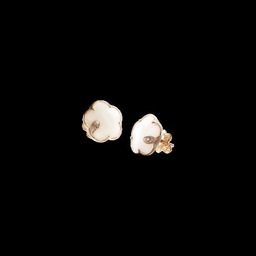 ORECCHINI PETIT JOLI IN ORO ROSA CON FIORE IN AGATA BIANCA, DIAMANTI BIANCHI E CHAMPAGNE - 16131R