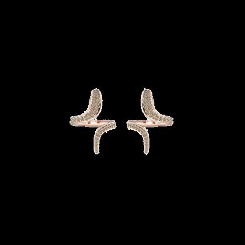 Orecchini Damiani Eden in oro rosa e diamanti brown - 20063165