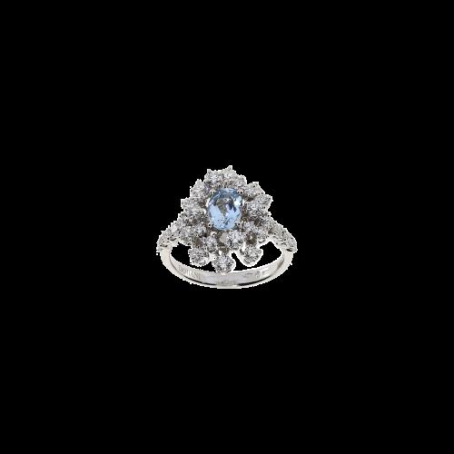 Anello Damiani Mimosa in  oro bianco, diamanti e acquamarina naturale - 20071066