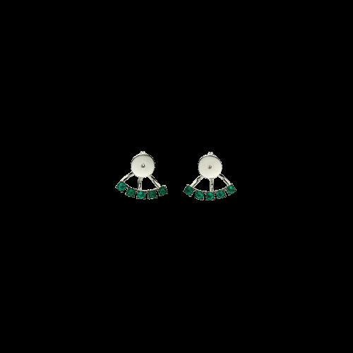 Chiusura per orecchini in oro bianco 18 carati e smeraldi taglio brillante