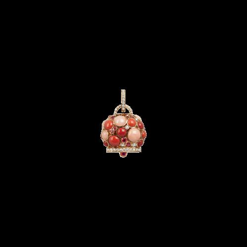 Ciondolo campanella Capri in oro rosa con diamanti, zaffiri e corallo rosa, rosso e arancio - 31101