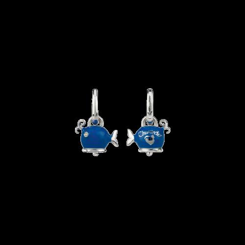 Orecchino singolo Campanelle Balena in argento, smalto blu e diamante bianco - 38464