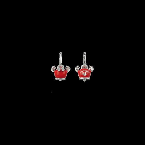 Orecchino singolo Campanelle Granchio in argento, smalto rosso e diamanti binìanchi taglio brillante - 38465