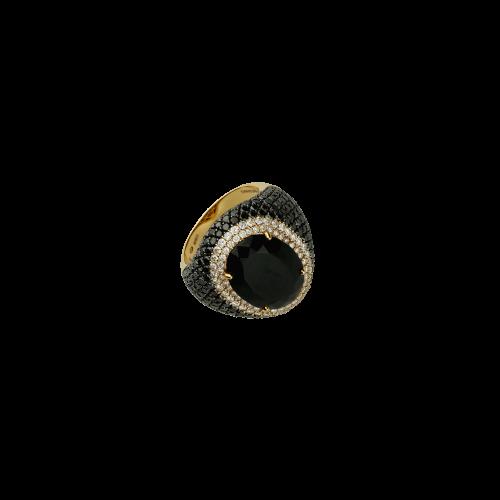 Anello in oro rosa 18 carati con diamanti bianchi e diamanti neri taglio brillante e onice taglio ovale