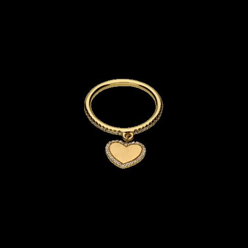 Cuore - Anello e ciondolo in oro rosa 18 carati e diamanti bianchi taglio brillante
