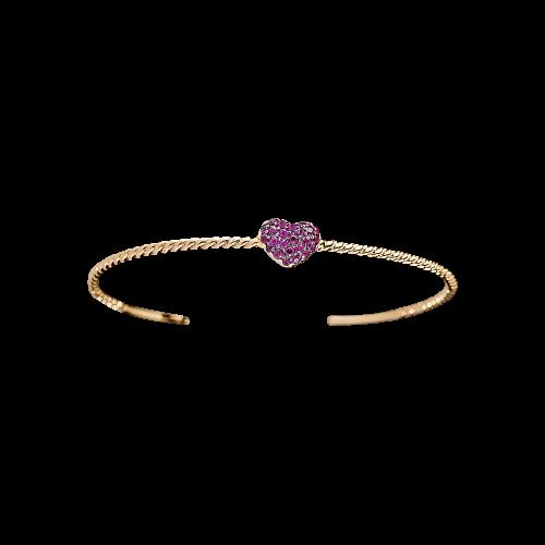 Bracciale in oro rosa 18 carati e rubini naturali taglio brillante