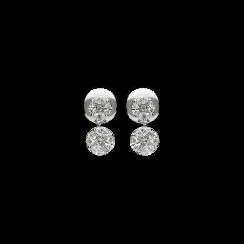 Orecchini in oro bianco 18 carati con diamanti bianchi taglio navette e princess