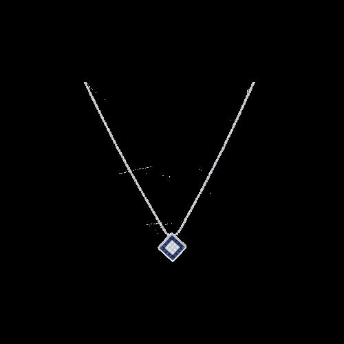 Collana in oro bianco con ciondolo diamanti e zaffiri blu