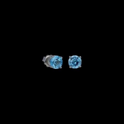 Orecchini in oro bianco 9 carati e quarzo azzurro taglio brillante