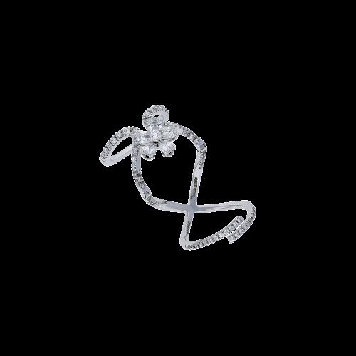 Magic Snake - Anello in oro bianco 18 carati e diamanti bianchi taglio brillante