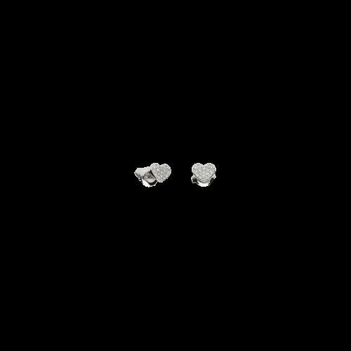 Orecchini CUORE  in oro bianco 18 carati e diamanti bianchi taglio brillante