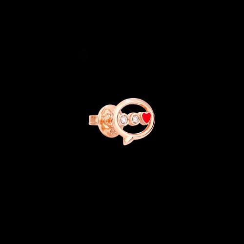 DODO LOVE - ORECCHINO SINGOLO MESSAGGIO IN ORO ROSA CON DIAMANTI E SMALTO - DOHLTT/9/B/RO