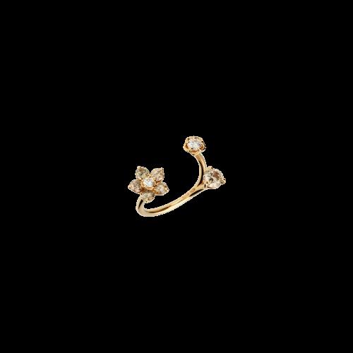 Anello Fiore in oro rosa, diamanti bianchi e diamanti brown