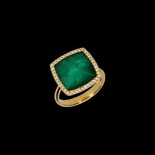 Anello in oro rosa 18 carati con smeraldo e diamanti bianchi taglio brillante