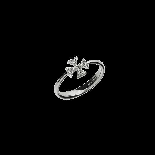 Croce - Anello in oro bianco 18 carati e diamanti bianchi taglio brillante