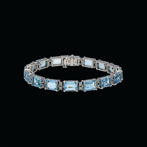 Bracciale in oro bianco 18 carati,acquamarina e diamanti bianchi - 17,5 cm