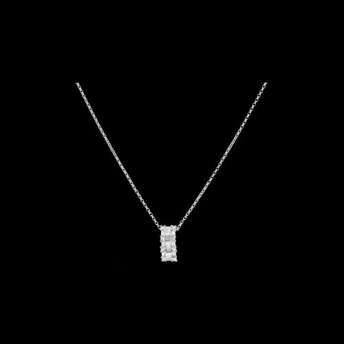 Collana in oro bianco con ciondolo diamanti