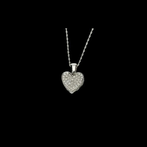 Collana Cuore in oro bianco e diamanti bianchi