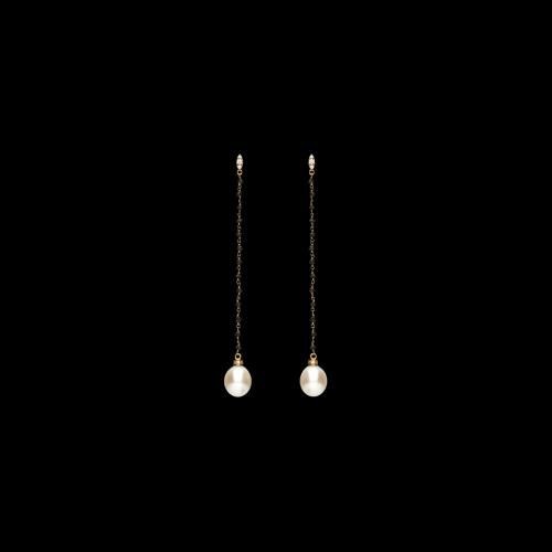 Orecchini in oro rosa 18 carati con diamanti bianchi, diamanti neri taglio briole' e perle gold pendenti