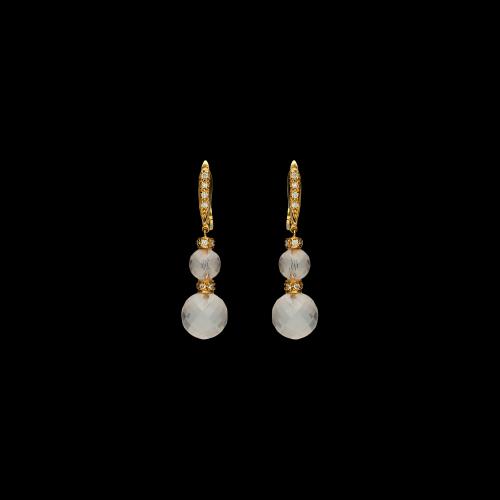 Orecchini pendenti in oro rosa 18 ct con brillanti bianchi e quarzi rosa sfaccettati