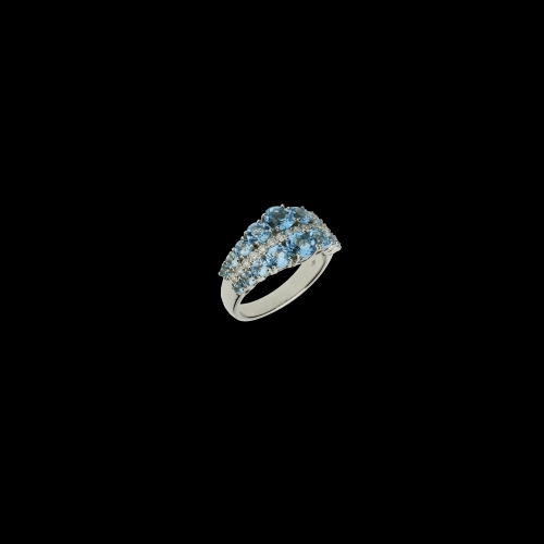 Anello Veretta mezzo giro in oro bianco, diamati bianchi e topazi azzurri naturali