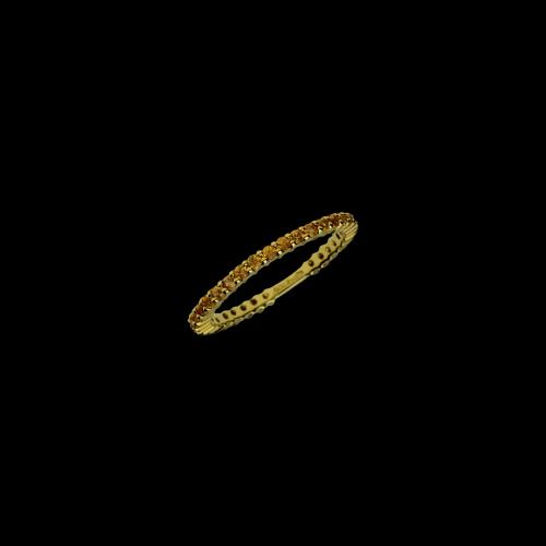 Anello in oro giallo 18 carati e zaffiri gialli taglio brillante