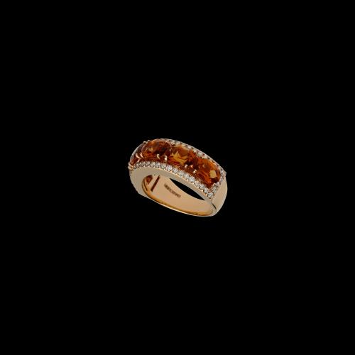 Anello in oro rosa con diamanti bianchi e quarzo citrino naturale