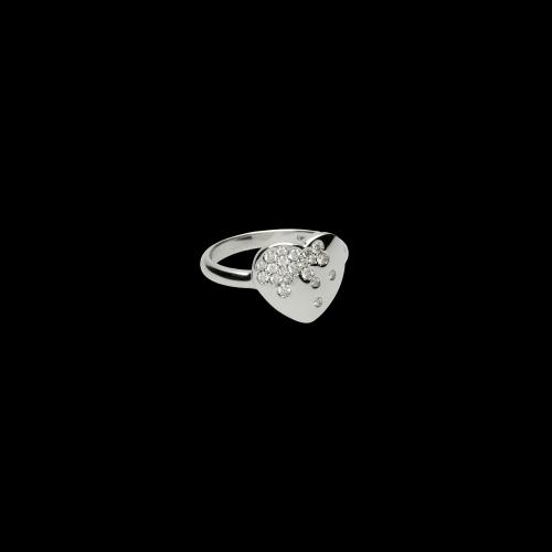 Anello Cuore in oro bianco e diamanti