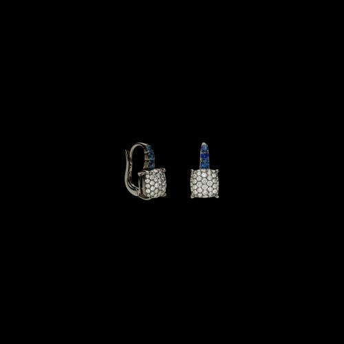 Orecchini in oro nero con zaffiri blu e diamanti bianchi taglio brillante