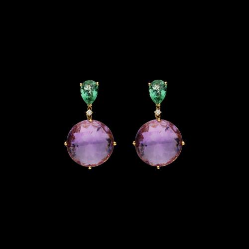 Orecchini in oro rosa con ametiste nbaturali, quarzi verdi naturali e diamanti bianchi