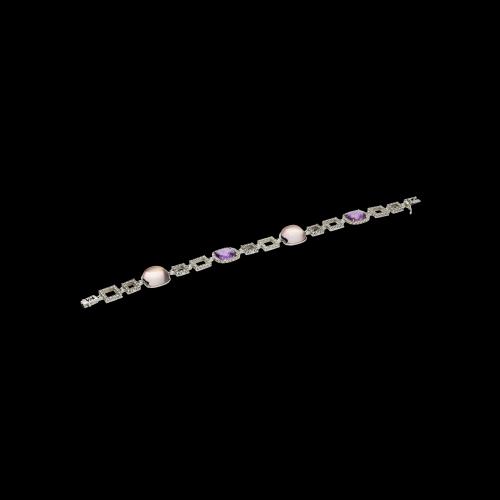 Bracciale in oro bianco, diamanti bianchi, ametista e quarzo rosa