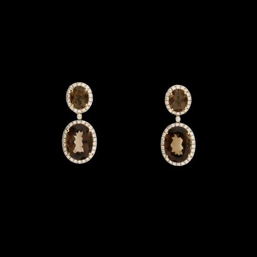 Orecchini in oro rosa con diamanti bianchi e quarzi fumè