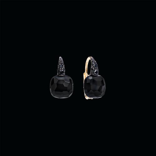 orecchini capri - ORECCHINI IN ORO ROSA CON ONICE A CUSCINO SFACCETTATO E DIAMANTI BLACK - O.B104O7BBON