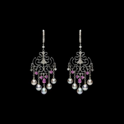 Orecchini in oro bianco 18 carati con diamanti bianchi taglio brillante, perle e pietre dure