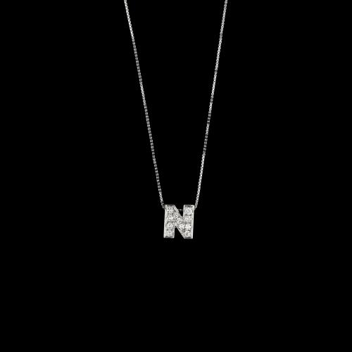 N - Catena con iniziale oro bianco 18 ct e brillanti