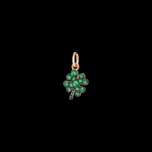 Quadrifoglio - Ciondolo in oro rosa 9 kt con tsavoriti