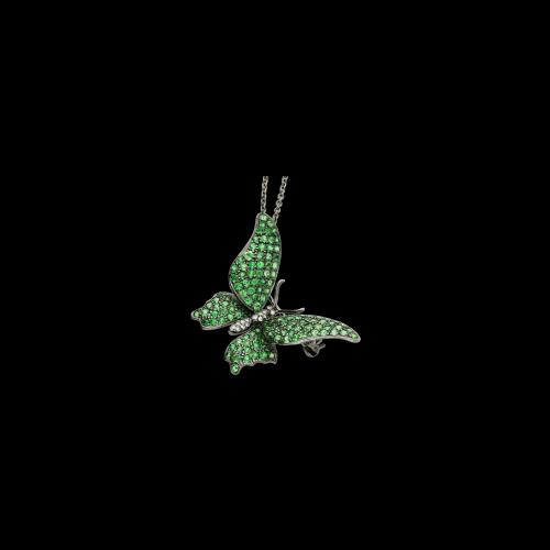 Collana con ciondolo spilla  Farfalla, diamanti bianchi e zovorrite