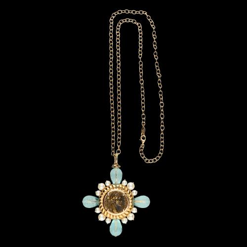 Collana in argento con perle e acquamarina
