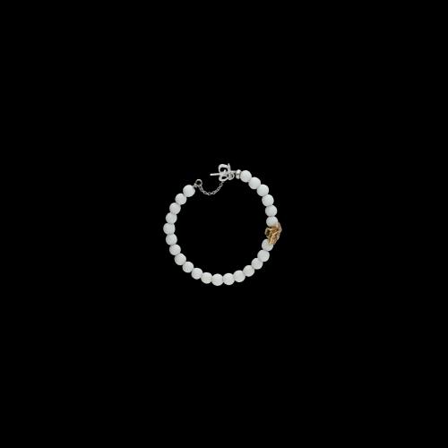 Orecchini cerchio in agata bianca, oro bianco, oro rosa e diamanti bianchi taglio brillante