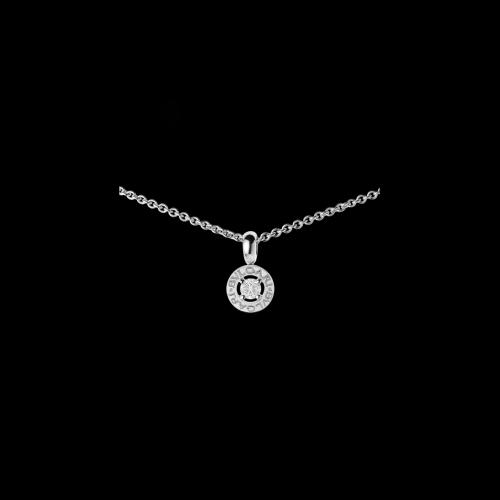 Pendente BVLGARI·BVLGARI con diamante e catena in oro bianco 18 carati.