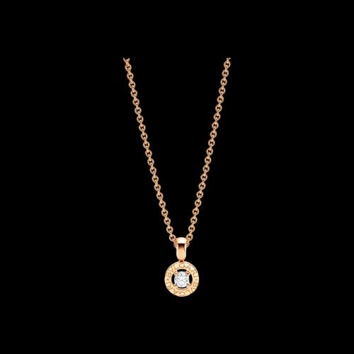Collana BVLGARI·BVLGARI in oro rosa 18 carati con diamante. Lunghezza 39-44 cm.