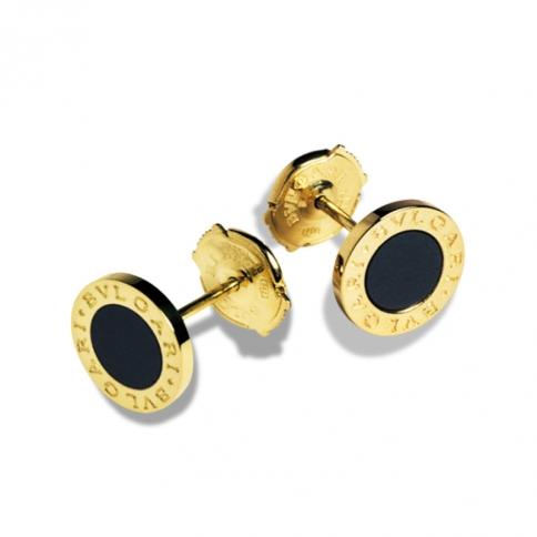 Orecchini a perno BVLGARI BVLGARI in oro giallo 18 carati con onice nera. Diametro 0,90 cm