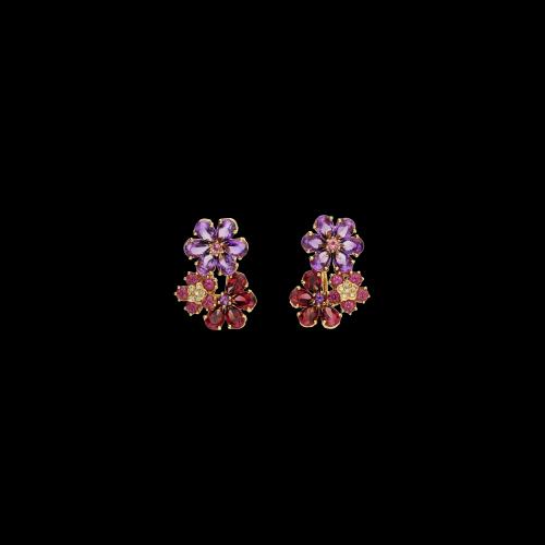 Orecchini Fiore in oro rosa, diamanti bianchi, ametista rodolite